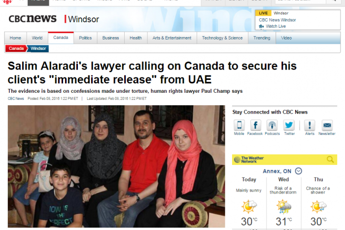 """CBCnews Windsor - Salim Alaradi's lawyer calling on Canada to secure his client's """"immediate release"""" from UAE"""